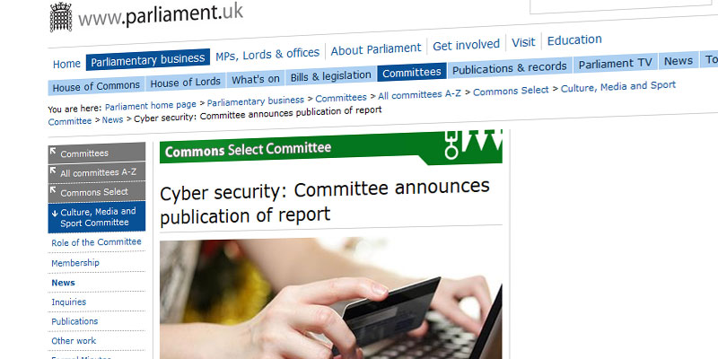'Cyber security: Committee announces publication of report'